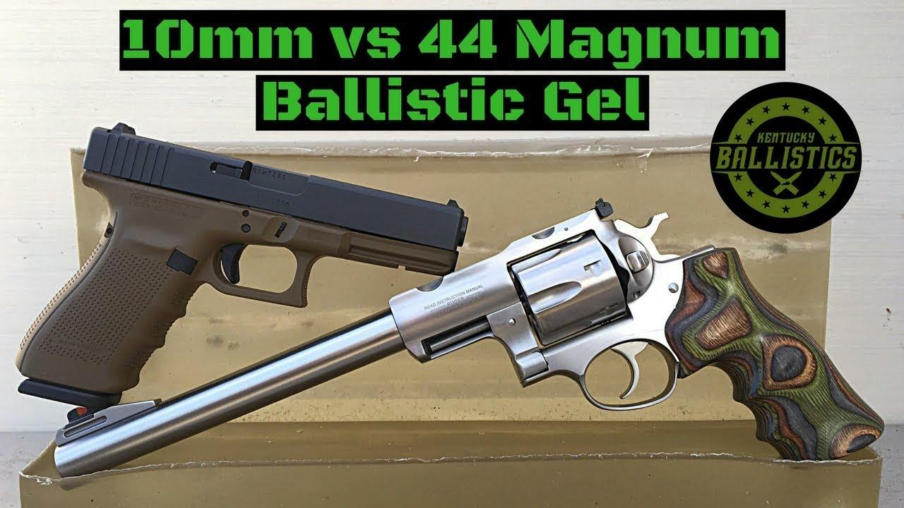 10mm vs 44 Magnum vs Ballistic Gel
